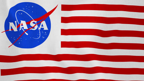 1080p Loopable: Flag With NASA Logo Combined With Red-White Stripes Waving In Footage
