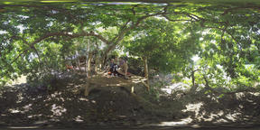 360 VR Parents and child relaxing with pad outdoor, Mauritius Archivo