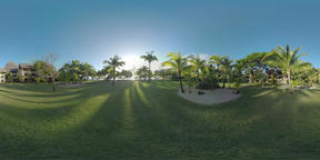 360 VR Tropical resort area with hotels palms and green lawns, Mauritius Footage
