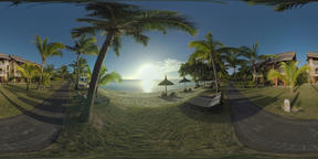 360 VR Tropical resort with view to the ocean and sunshine, Mauritius ビデオ