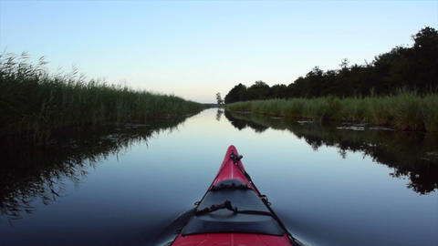 Kayaking on a canal in nature Filmmaterial