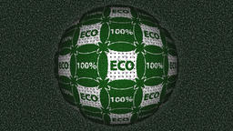 Decorative green and white video with rotating sphere and text 100% eco Animation