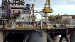 Great Britain Scotland Highland Invergordon oil rig in close up Footage