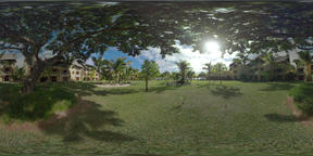 360 VR Guest houses around the tropical garden near the coast, Mauritius Footage