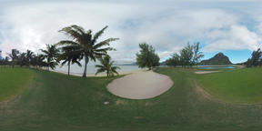 360 VR Green landscape with golf course and Le Morne Brabant in Mauritius Footage