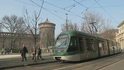 Milan, Italy modern tram on the streets of Milano Footage