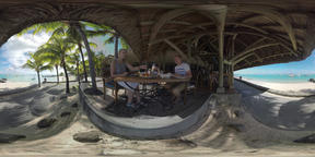 360 VR People having dinner in restaurant with ocean view, Mauritius Footage