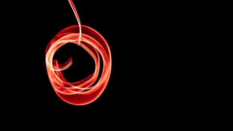 Glowing abstract curved red lines - Light painted 4K video timelapse Footage