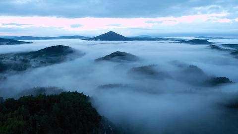 Time lapse. Hilly landscape after rainy night. Foggy valley bellow view point fu Footage