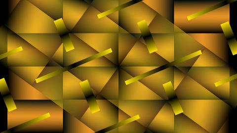 Gold metallic segments turning and overlapping, 3d illusion, abstract video back Animation