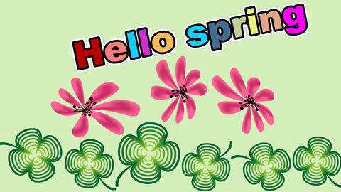 Hello spring animated banner with clover leafs and pink flowers rotating on gree Animation