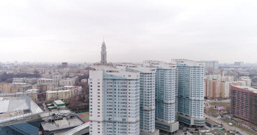 Four white blue high-rise apartment houses Footage