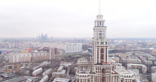 "Panorama of Moscow through Residential complex ""Triumph Palace"" Footage"
