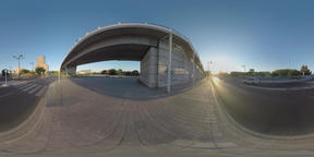 360 VR City motorways and family crossing the road, Valencia Footage