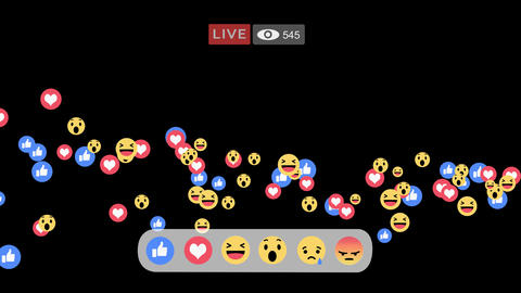 Positives only reactions emoji in streaming live video Animation