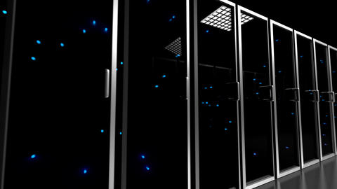 Data center servers glass fronted flashing lights tracking shot centre 4K Footage