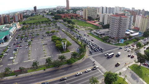Aerial View Of City Buildings Mall And Intersection 01 stock footage