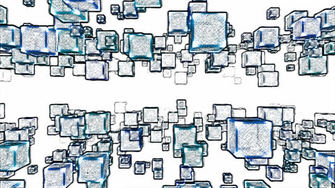 Abstract Moving Blocks Background - Loop Blue Animation