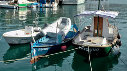 Spain Gran Canary Mogán 020 three small boats berthed in harbor Footage