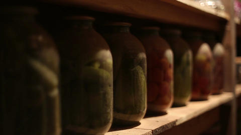 Glass Jars With Salted Vegetables stock footage