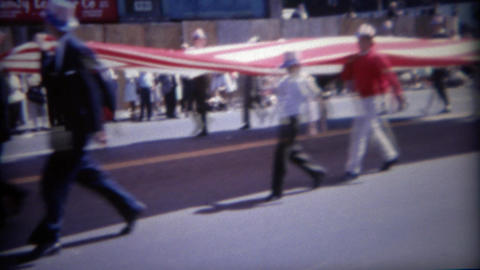 1964: Giant USA flag parade on 4th of July holiday Footage