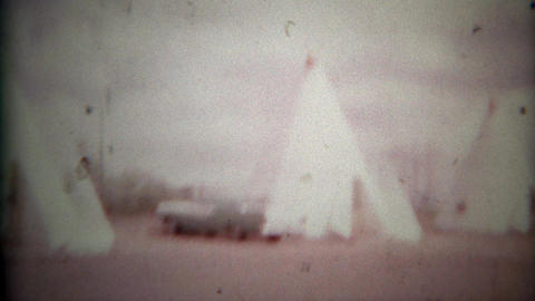 1957: Famous Wigwam Motel sign and teepee room lodging Footage