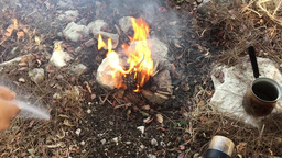 Liting fire for small bonfire in the woods Footage