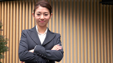 Career Success Happy Asian Japanese Manager Businesswoman Smiling At Camera Live Action