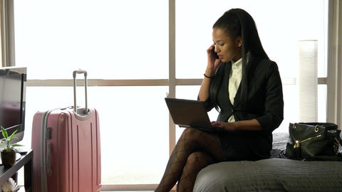 Multi ethnic Businesswoman Woman Working With Computer Hotel Room Business Trave Footage