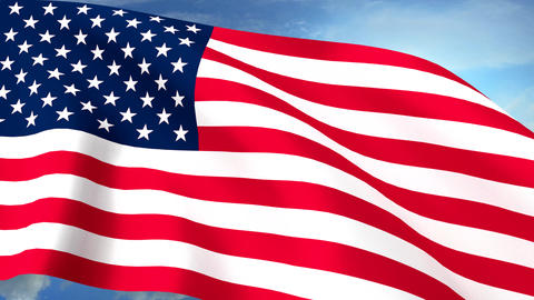 USA US Flags Closeup Waving Against Blue Sky CG Seamless Loop 4K Footage