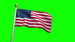 USA US American Flag Medium Shot Waving green screen CG Flare 4K Live Action