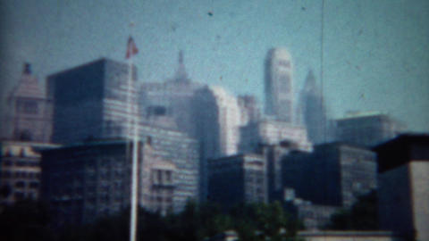 1961: Manhattan Skyscraper Pan Of Midtown Building Architecture stock footage
