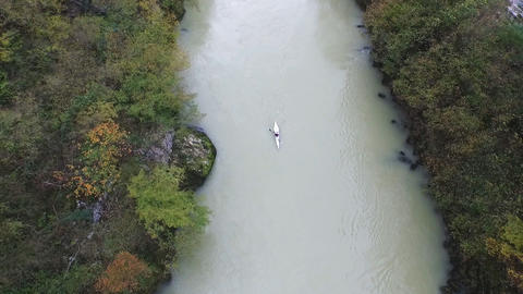 Aerial View Of Kayak Floating In Vrbas River stock footage