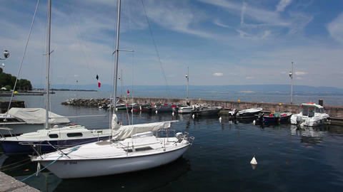 Port of Evian-les-Bains on the banks of Lman lake to the east of France Footage