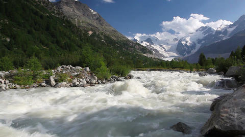 Swiss mountain landscape of the Morteratsch Glacier Valley Footage