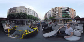 360 VR Tourists observing the city from double-decker bus, Valencia Footage