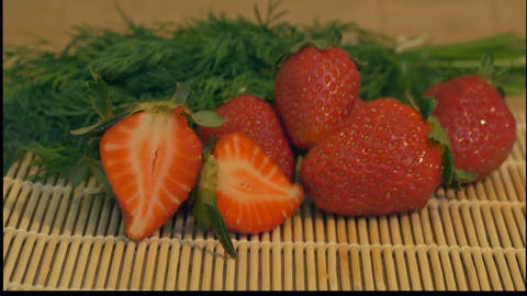 Fresh Strawberries on Table Footage