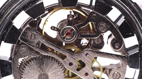 Clock mechanism back macro - FULL HD Footage