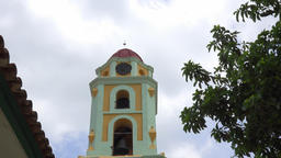 Tilt down main Catholic church or convent in Trinidad, Sancti Spiritus, Cuba Footage