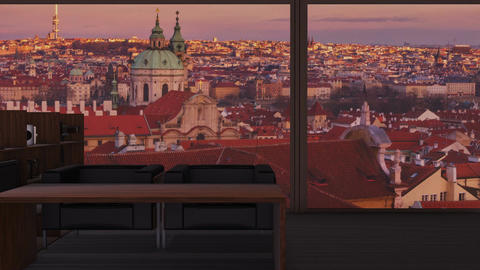 A penthouse with a view to the iconic Prague skyline Footage