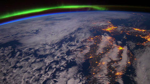 International Space Station shot showing the Aurora Borealis Footage