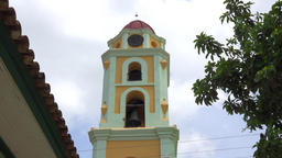 Tilt up main church tower or convent in Trinidad city, Sancti Spiritus, Cuba Footage