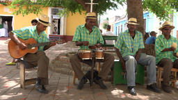 Trinidad, Cuba: Left Pan to Group of Cuban Musicians Playing for Tourisms Footage