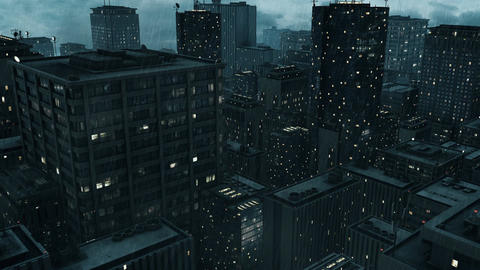 CG animation showing a large city with skyscrapers Footage