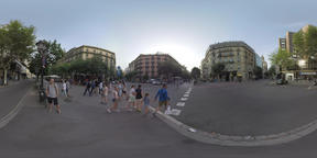 360 VR View to the streets of Barcelona, Spain Footage