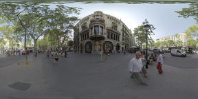 360 VR City street with people on sidewalk and traffic on the road, Barcelona Footage