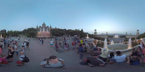 360 VR People enjoying the sights of Barcelona. National Palace and Magic Founta Footage