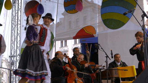 Folklore performance by Czech artists during the Easter period Footage