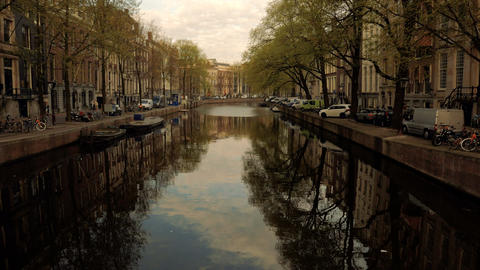 Amsterdam canals during late afternoon Footage