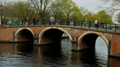 Picturesque bridge over a canal in the center of Amsterdam Footage
